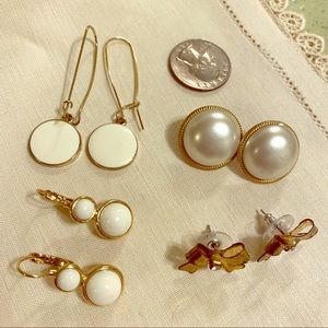 Jewelry - 🌼lot 4  Spring vintage retro neutral earrings